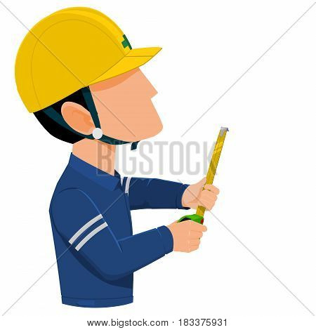 worker is measuring with tape measure on transparent background