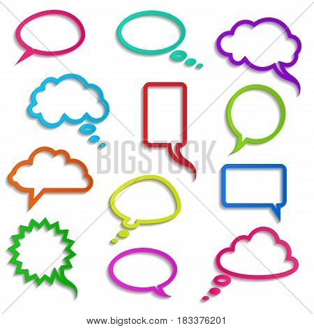 vector collection of realistic colored speech bubbles