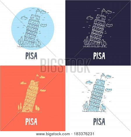 Leaning Tower of Pisa. Travel, doodle, line. Flat vector illustration.