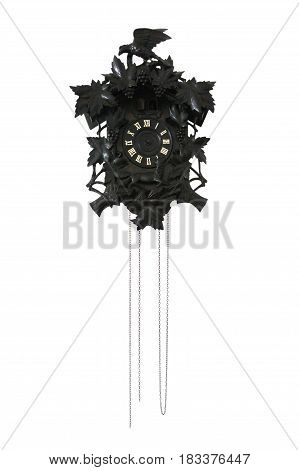 vintage dark wooden cuckoo clock isolated on white