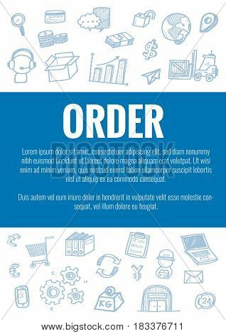 Vector Template For Order Theme With Hand Drawn Doodles Logistic Business Icons In Background.theme
