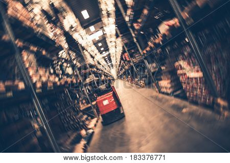 Blurred Interior of Modern Warehouse. Industrial building.