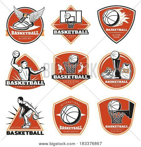 Colored vintage basketball labels set with players sport equipment cup and clothing isolated vector illustration