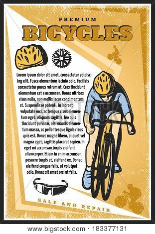 Colored vintage cycling poster with text cyclist riding bike helmet sprocket mask on light background vector illustration