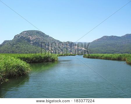 dalyan river in mountains in turkey asia