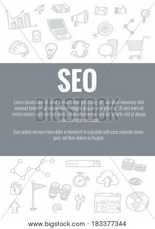 Vector Template For Seo Theme With Hand Drawn Doodles Business Icon In Background.concept For Busine