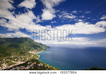 Scenic view of Amalfi Coast sea sky and clouds from Ravello Italy Europe