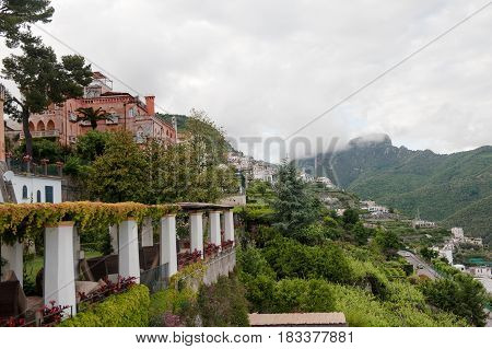 Scenic view of the mountains next to the Amalfi coast from Ravello Italy Europe