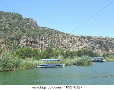 ancient cemetery in dalyan river in mountains in turkey asia
