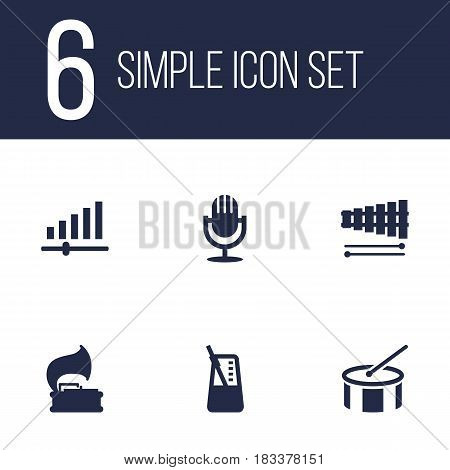 Set Of 6 Song Icons Set.Collection Of Rhythm Motion, Knob, Turntable And Other Elements.