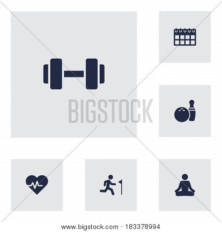 Set Of 6 Bodybuilding Icons Set.Collection Of Date, Running, Hartbeat And Other Elements.