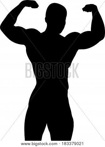 athletic bodybuilder pose double biceps black silhouette