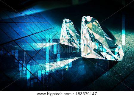 Diamonds market concept. Luxury market concept. Dark theme.