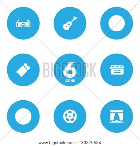 Set Of 6 Entertainment Icons Set.Collection Of Spectacles, Acoustic, Filmstrip And Other Elements.