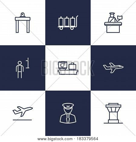 Set Of 9 Land Outline Icons Set.Collection Of Airport Security, Luggage Trolley, Pilot And Other Elements.