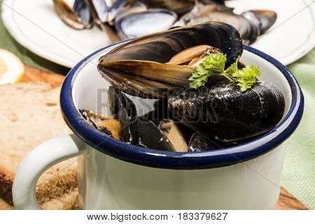 mussels with creamy garlic sauce in a white and blue enamel cup