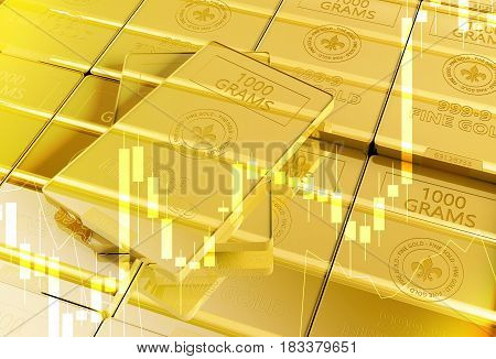Fine Gold Bars 3D Illustration with Trading Statistics Overlay. Gold and Precious Metals Trading Concept.