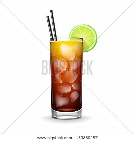 Vector Cuba Libre cocktail with rum, cola, fresh lime, ice cubes and black straw tubes isolated on white background