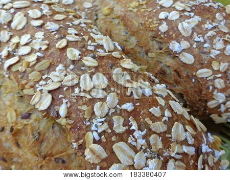 Closed up texture of baked multi grain bread loaves, for background