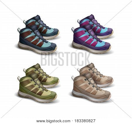 Vector set of colored brown, green, blue, violet, magenta travel sneakers side view isolated on white background