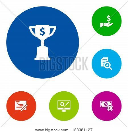 Set Of 6 Business Icons Set.Collection Of Currency, Document Checking, Goblet And Other Elements.
