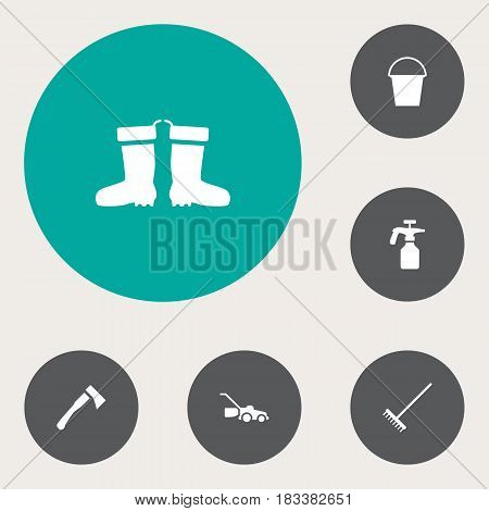 Set Of 6 Farm Icons Set.Collection Of Lawn Mower, Rake, Rubber Boots And Other Elements.