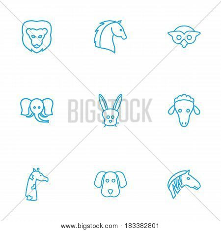 Set Of 9 Alive Outline Icons Set.Collection Of Elephant, Sheep, Mammal And Other Elements.