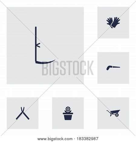 Set Of 6 Horticulture Icons Set.Collection Of Flowerpot, Wheelbarrow And Other Elements.