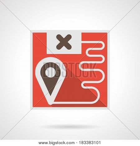 Symbol of freight transportation route - red map with points. Railroad logistics element. Flat color style vector icon.