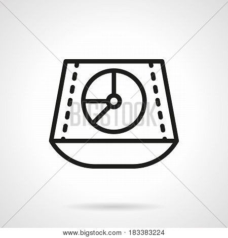 Abstract symbol of audio music mixer. Sound equipment for stage, clubs, concerts. Black simple line design vector icon.
