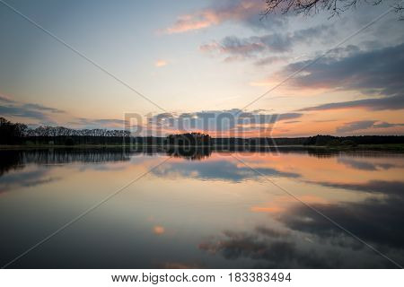 Evening Landscape Over The Pond With Nice Sky