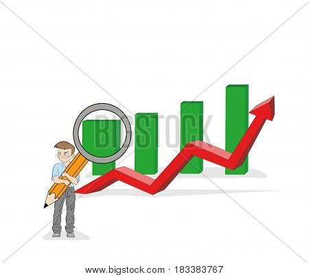 A little man with a magnifying glass increases the sales schedule. Business concept. vector illustration.