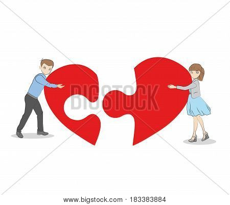Guy with a girl collect a puzzle in the shape of a heart. romantic relationship. vector illustration.