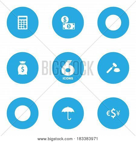 Set Of 6 Budget Icons Set.Collection Of Money, Calculate, Sack And Other Elements.
