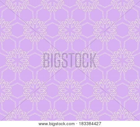 Purple Color Illustration. Easy Festive Ornament From Abstract Flower In The Style Of Geometric Tran