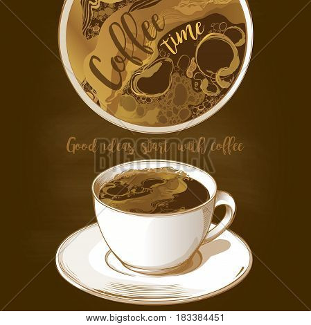 Cup of coffee latte isolated on dark background vector sketch isolate illustration