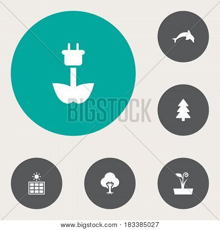 Set Of 6 Ecology Icons Set.Collection Of Tree, Flowerpot, Grampu And Other Elements.