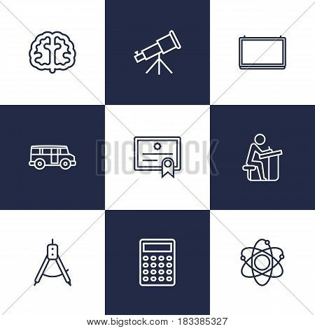 Set Of 9 Studies Outline Icons Set.Collection Of Brain, School Board, Bus And Other Elements.