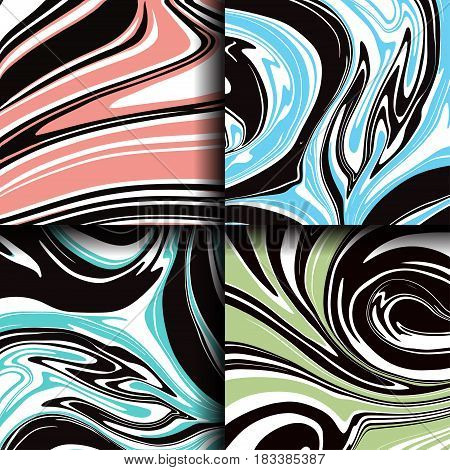 Set of marble texture. Abstract painting can be used as a background for wallpapers posters cards invitations websites. Marbled ink pattern liquid paint.