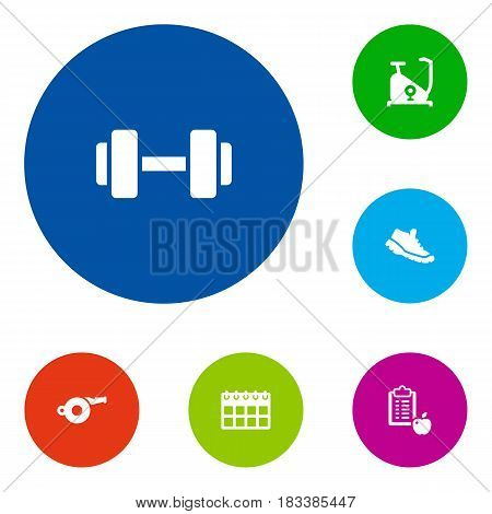 Set Of 6 Fitness Icons Set.Collection Of Blower, Date, Sneakers And Other Elements.