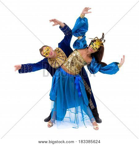 carnival dancers team a mask dancing, isolated on white background in full length.