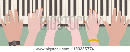 Hands of father mother and kid playing piano together from top view in cartoon style
