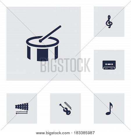 Set Of 6 Music Icons Set.Collection Of Percussion, Quaver, Tape And Other Elements.