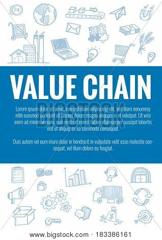 Vector Template For Value Chain Theme With Hand Drawn Doodles Logistic Business Icons In Background.