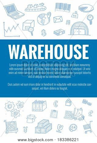 Vector Template For Warehouse Theme With Hand Drawn Doodles Logistic Business Icons In Background.th