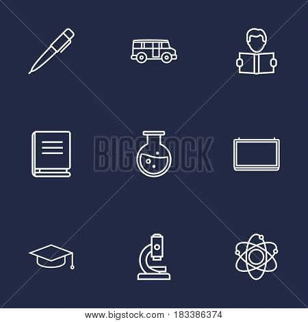 Set Of 9 Studies Outline Icons Set.Collection Of Encyclopedia, Microscope, Bus And Other Elements.