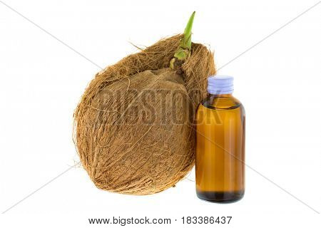 Bottle of Cold pressed coconut oil next to old mature raw coconut shell with brown fiber and green sprout isolated on white background