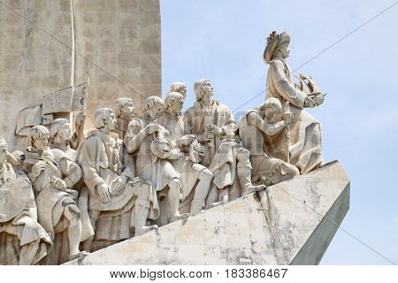 Lisbon, Portugal - May 15, 2012: Padrao dos Descobrimentos - Monument of the Discoveries in Lisbon close up