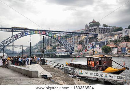 Porto, Portugal - May 13, 2012: Quay and the Dom Luis I bridge in Porto