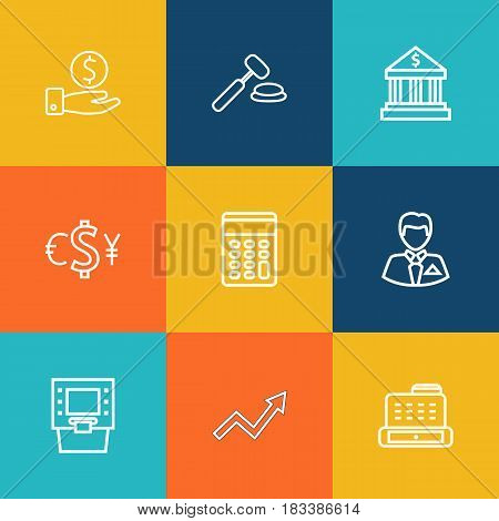 Set Of 9 Budget Outline Icons Set.Collection Of Auction, Exchange, Businessman And Other Elements.
